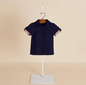 2019 Verão novos meninos T-shirt crianças lapela xadrez camisas de manga curta moda Tee crianças roupas de algodão crianças menino casual tops