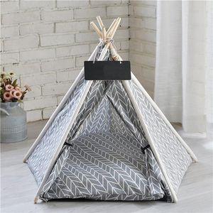 Portable Linge Pet Tente pour chien chaton Maison Lavable Tipi Puppy Cat Intérieur Extérieur chenils Portable Tipi Cave avec Mat
