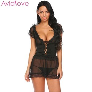 Avidlove Women Sexy Lingerie Sleepwear Sexy Underwear Erotic lenceria Costumes Chemise Pajamas Lace Lingerie Patchwork Ruffle