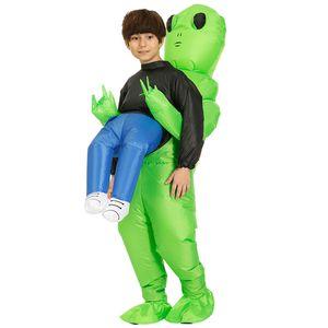 Natal estrangeiro verde Traje inflável alienígena vestido de festa para as crianças andando de desempenho trajes engraçados cosplay trajes infláveis A07