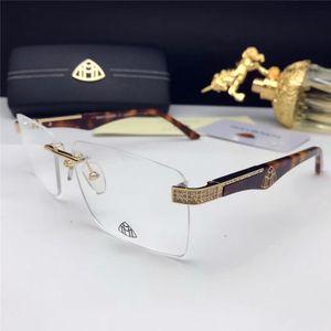 Nueva receta marco de las lentes de las lentes de vidrios ópticos Z1096 sin marco cuadrado con patas de diamantes de estilo de negocios simple lente transparente