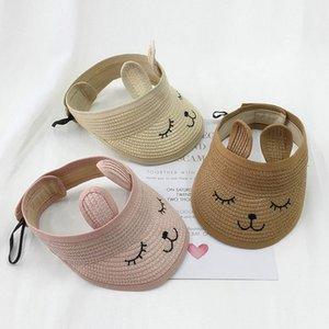 Tavşan Kulakları Yaz Hat Çocuk Unisex Karton Katlanabilir Nakış Bebek Çocuk Siperlik Hasır Şapka Üst Güneş Hat Çocuk Caps boşaltın