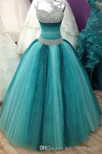 2019 New Sweet 16 Long Floor Length Quinceanera A-Line with Spaghetti Straps Victoria Prom Gown Luxury Crystals Quinceanera Dress 012