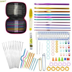 Looen 90pcs Crochet Hooks Conjunto de aluminio agujas de tejer Hilados Craft Kit de accesorios que hacen punto con el caso de rosa regalo de las mujeres para
