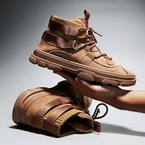 Hot Sale-Mode Hiver Hommes Chaussures de travail Cowboy Chaud travail Bottes de sécurité à moitié noir Browm Cowskin