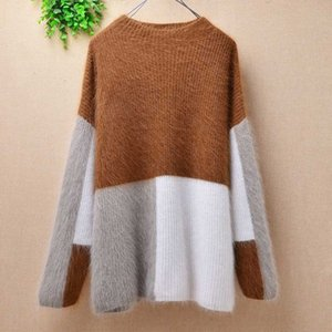 mulheres Damas invernam pacthwork plush Real mink cashmere long sleeves pullover angora fur bottom Blusas sweater