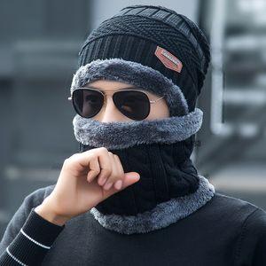 5 цветов Зима теплая вязаная шапка с шарфом Set Skullies Шапочки для взрослых Женщина и мужчина на открытом воздухе Спорт Hat Set