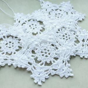 pendurando enfeites, decoração home, brancas do inverno decorações de crochê, flocos de neve brancos, floco de neve de Natal, Crochet floco de neve 12