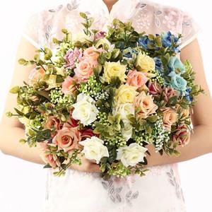 Silk Rose Künstliche Gekräuselte Rose-Blumenstrauß-Hochzeit Braut-Brautjunfer-Holding-Blumen-Blumenstrauß-Office Home Tischdekoration