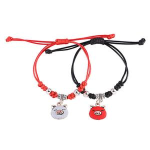 Charm Bracelets 2019 Brand New Pig Year Lucky Bracelets Pulseras de alta calidad en negro y rojo para hacer punto Pulseras pareja 2 piezas Juego de joyas LBR005