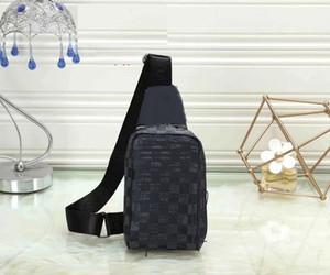 Siyah kareli göğüs torbaları SLING BAG çiçek seyahat çantası ERKEK çapraz vücut göğüs omuz kese hakiki deri göğüs torbası bumbag