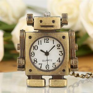 패션 복고풍 Steampunk 로봇 디자인 포켓 시계 정비공 석영 아날로그 목걸이 체인 시계 소년