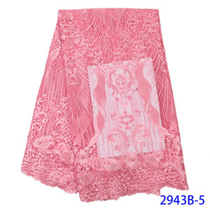 Baby Pink Lace Fabrics for African Partiy Wedding Dressess Embroidered African Fabric with Beads French Tulle Mesh Lace APW2943B