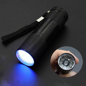 9 torcia a LED in alluminio mini portatile 395-400NM torcia a luce ultravioletta torcia elettrica senza batteria 5 colori DS0562 CY