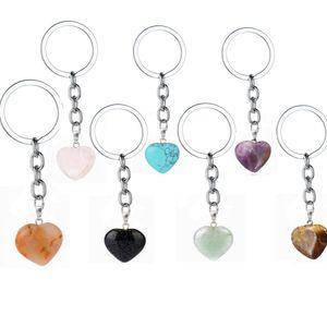 Gül Pembe Doğal Kalp Taş Anahtarlık Turkuaz Kristal Kuvars Şifa Taş Chakra Kalp Anahtarlık Ring Anahtarlık Takı Hediye