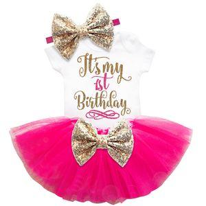 Дети дизайнер одежды девочка первого второго день рождения торт Удар Комплекты для новорожденной Одежды наборы Romper + Тута юбки + оголовье новорожденного ребенка костюмы