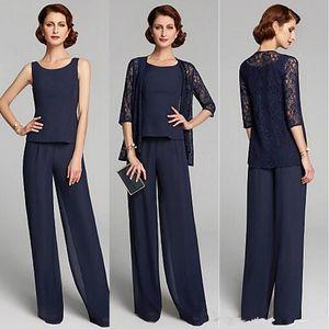 Damat Pant Suit BC2810 ait Dantel Ceket Dantelli Üç adet Wedding Guest Anne ile Gelin Pant Suits Lacivert şifon Örgün Anne
