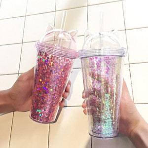 Creative Cat Ear Shaped Bottle Plastic Double Layer Tumbler Sequin Coffee Cup with Lid and Straw Travel Mug