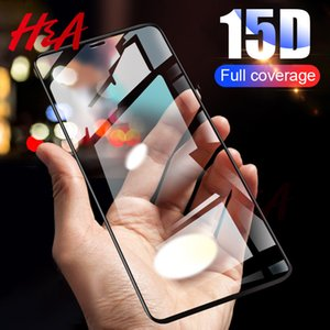 H&A 15D Curved Full Cover Screen Protector Glass For iPhone 7 8 6s Plus X Tempered Glass For iPhone XR XS MAX Protective Glass