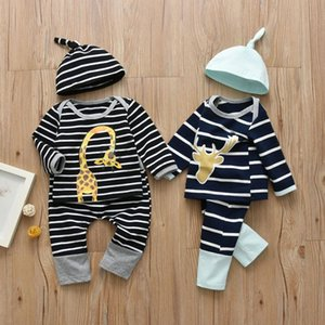 Newborn Infant Baby Boys Clothes Set Giraffe Pattern Long Sleeve Stripe T-shirt Casual Pants Hat 3 Pcs Toddler Clothing Outfits