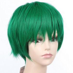WIG LL 003.075 sintetico Cosplay breve parrucca verde Donne parrucca Anime chiusura di rosa di base di seta corpo malese uk tessere indiano