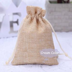 50PCS Sacs en toile de jute avec cordon de serrage cadeau sacs en jute Doublure coton Taille inclus 6.7 « X9 » (17X23CM)