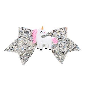 3.7Inch Unicorn Glitter Kırlangıç Saç Yaylar Kızlar ışıldamaya Bowknot saç Klip Tokalar Bebek Tokalarım Çocuk Saç Aksesuarları Şapkalar A122702