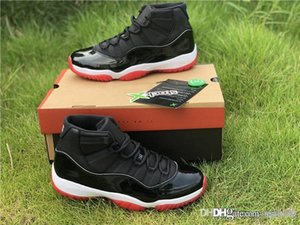 2019 Top Authentic 11 OG Bred Men Basketball Shoes Black Red Classic Real Carbon Fiber 11S Retro 23 Mans Sports Sneakers 378037-061 With Box