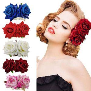 50pcs / lot DIY simples multi Flannelette Duplo Velvet Rose Cabelo Fork Combs Simulação Flores Cabelo Garra Cuidados para cabelo Ferramentas HA1175 cabelo