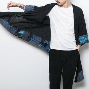 WDOGa 2019 nationalité style chinois cardigan coupe-vent hommes Wind Coat moyen de nationalité et à long lin de couleur correspondant coaguler national Han