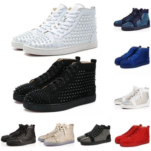 Christian Louboutin Red Bottom CL shoes Luxury Designer Brand Studded Spikes Flats zapatos casuales Zapatos para hombres y mujeres Amantes de las fiestas Zapatillas cuero genuino