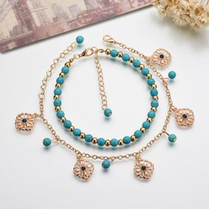 New European and American jewelry boho turquoise beaded blue diamond faceplate combination bracelet anklet female