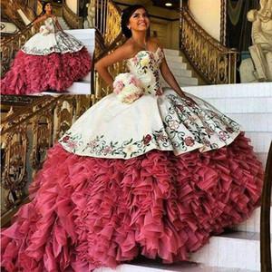 2020 Vintage Stickerei Quinceanera Kleider Puffy Ballkleid Rüschen Organza Sweet 16 Kleider Sweetheart Tiered Röcke Abendkleider