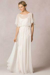 Sheath Chiffon Wedding Dress Scoop Neck Low V Back plus size wedding dresses bridal gowns gothic wedding dresses occasion dresses BBG012