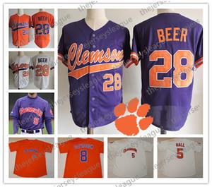 Clemson Tigers Personalizado Qualquer Nome Qualquer Número Botão Costurado Branco Laranja Roxo # 28 Seth Beer NCAA College Baseball Jersey