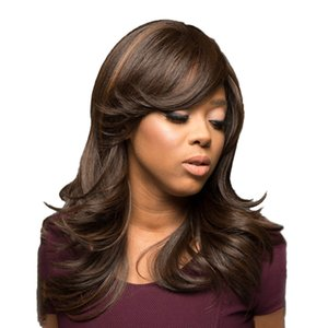 Long Curly Wavy Brown Highlights Wigs Side Bangs 18 Inch Women Wigs Heat Resistant Synthetic Full Wig with Free Wig Cap