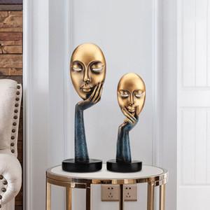 Modern Ev Dekor Ev Dekorasyon Maison Aksesuarları Düşünür Living Room, Ofis, koridor T200330 için Minyatür Figurines Maske