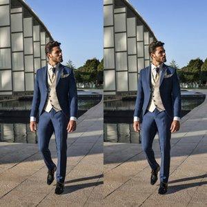 Bleu marine Tuxedos Mariage Hommes Costumes Formels Hommes d'affaires Époux Sposo Costume d'Homme de mariage Invités de Mariage Blazers (Vestes + Pantalons)