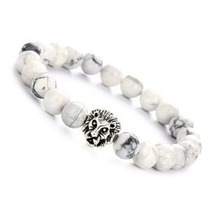 Bracciale elastico in argento per donna con bracciale in argento a forma di testa di leone con charm in argento 8mm