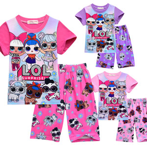 T gömlek Pijama Set 3D renk Baskı Yeni Karikatür Kız Kısa kollu T-shirt Şort Takım Yaz Çocuk giyim Çocuk kızın Dış Giyim Giyim