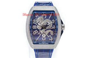 Top Vanguard Yachting V45 Mens Watch Diamante orologio svizzero meccanico automatico 28800 VPH cristallo di zaffiro Loong Quadrante Cassa in acciaio 316L Tonneau