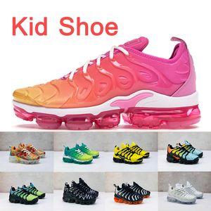 Venda quente Crianças Sapatos TN Plus tn Crianças Running Shoes Bumblebee VERÃO PÔR DO SOL Lemon Lime Preto Branco Camo Menta Laranja crianças formadores sapatilhas