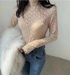 Kadın İşlemeli Harf Uzun Kollu Tişört Web Ünlü Yüksek Yaka Mizaç Dantel yönlü Uzun Kol İçin Son Tasarım