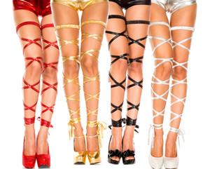 섹시한 란제리 액세서리 가짜 가죽 페티쉬 하네스 구속 다리 밧줄 섹스 속옷 장식 여성 에로틱 한 의상 원조