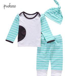 Pudcoco nueva marca de fábrica de los bebés recién nacidos a rayas de manga larga de la camiseta de las tapas + pants + hat 3pcs de ropa Trajes Set