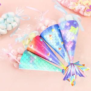 Mermaid caixa de doces festa de casamento caixa de presente fita de creme DIY gelo Doce cookies de chocolate Papel de saco traktatie kinderen verjaardag