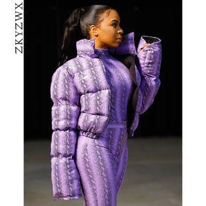 ZKYZWX impresión de la serpiente de invierno burbuja capa de las mujeres nueva llegada ropa de Down Tops caliente grueso de la cosecha de abrigo chaqueta caliente Puffer Parka