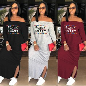 Spring Autumn Women Dresses Long Sleeve Letter Black Smart Print Slash Neck Loose Off Shoulder Long Dress Sexy Split Skirt Hot