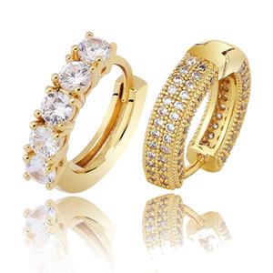 18K الذهب الحقيقي الذهب الأبيض الكامل زركون مثلج خارج الماس للجنسين القرط هوب أزياء العلامة التجارية مغني الراب مجوهرات هدايا عيد الميلاد للرجال للنساء