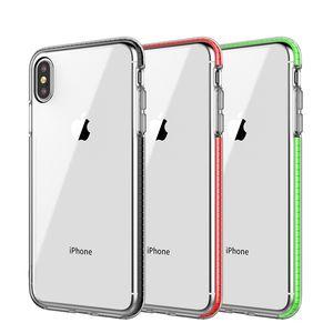 Deux tons clair TPU cas de téléphone portable double couleur hybride armure couverture antichoc Soft Case pour iPhone Xs Max 8 Plus Samsung S10 Plus